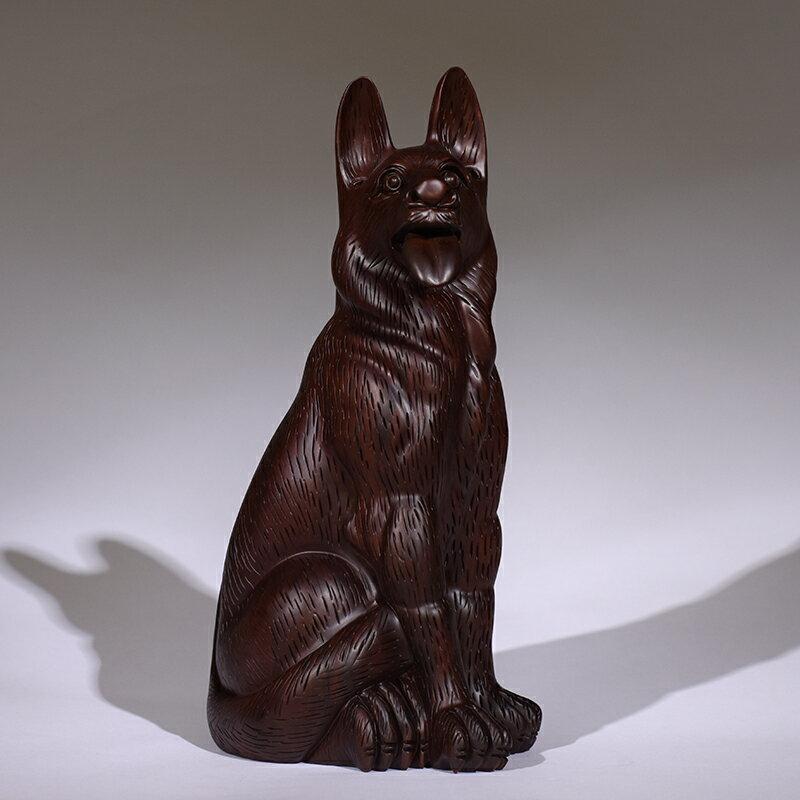 黑檀木雕狗擺件風水招財實木十二生肖旺財狗客廳裝飾品紅木工藝品