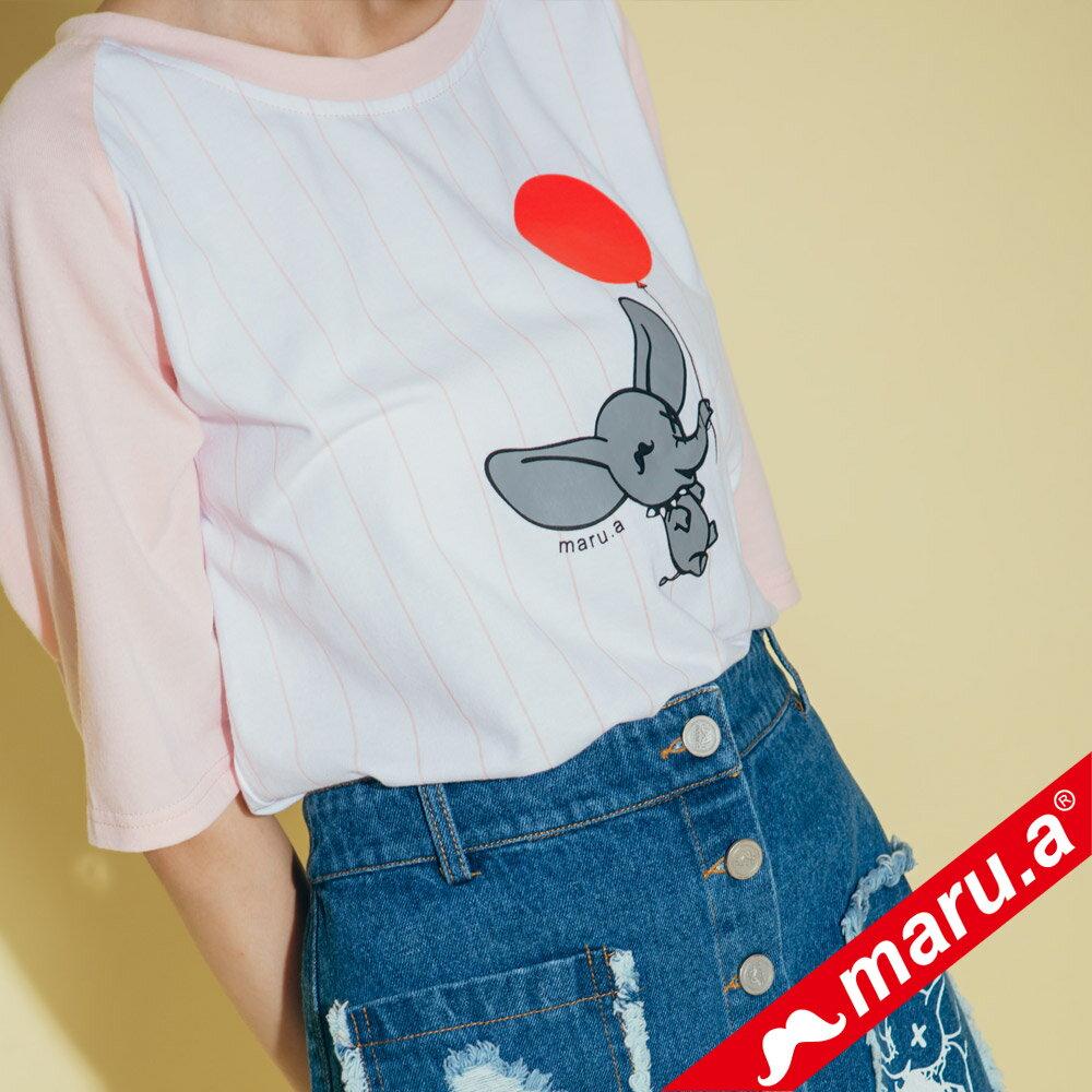 【maru.a】氣球小飛象直條紋棒球T-Shirt  8311217 5