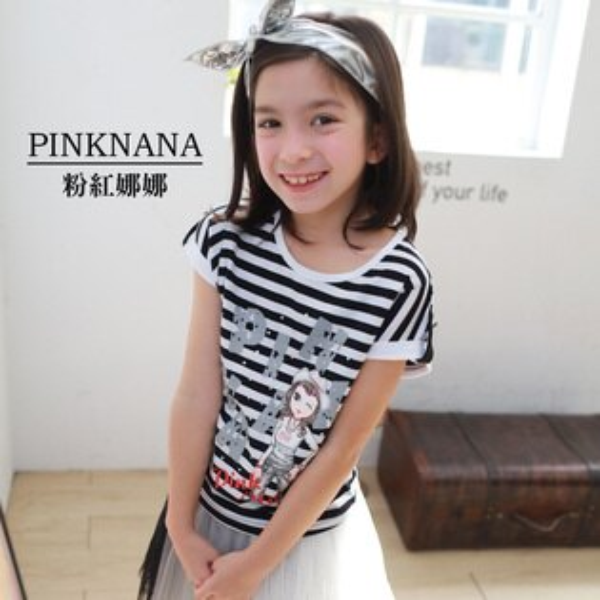PINKNANA童裝-大童條紋短袖棉質上衣36169