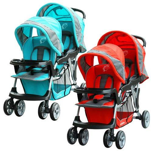 【奇買親子購物網】BabyBabe B329歐風雙人手推車(紅色/藍色)