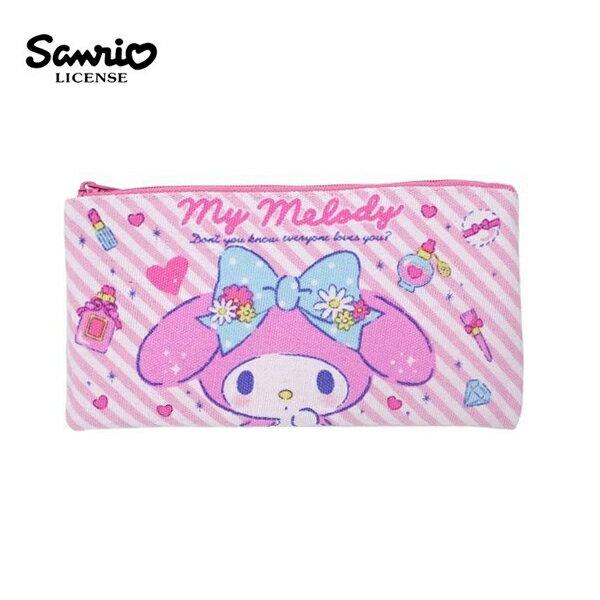 【 】美樂蒂 帆布 扁筆袋 M號 鉛筆盒 筆袋 收納包 My Melody 三麗鷗 Sanrio - 465780