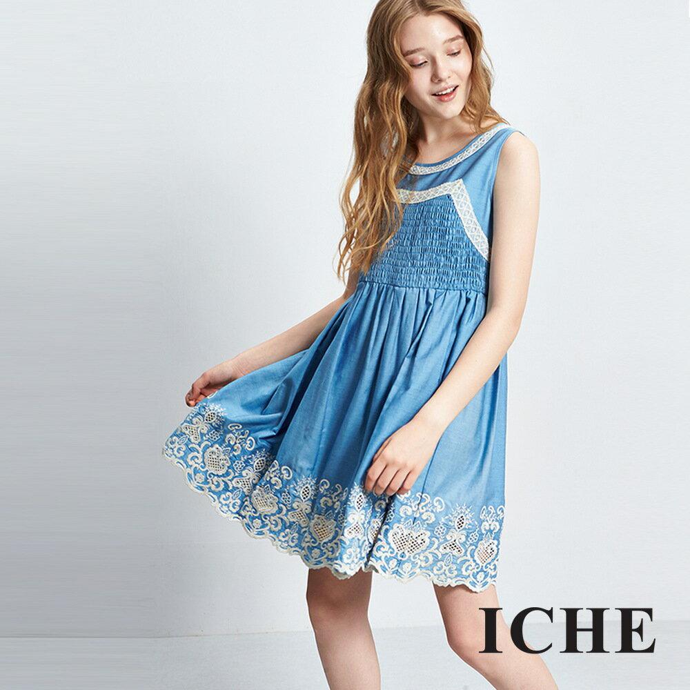 ICHE 衣哲 立體刺刺繡雕花天絲棉洋裝