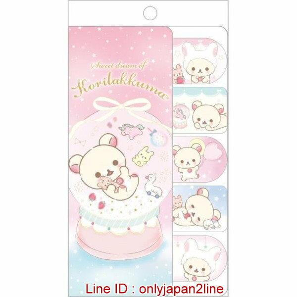 【真愛日本】16122400010日本製便利貼-夢幻奶熊雪花球   SAN-X 懶熊  奶熊 拉拉熊   文具 標籤紙 造型標籤