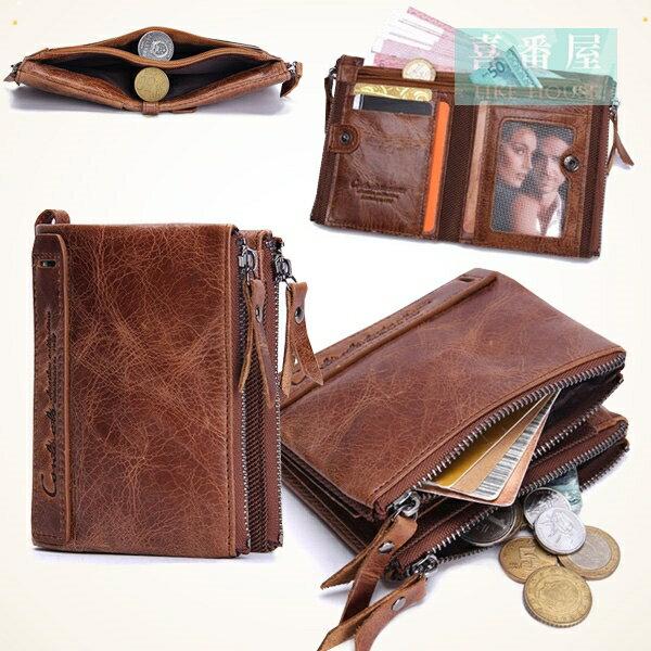 真皮牛皮雙拉鍊男士皮夾皮包錢夾零錢包2折短夾流行男包男夾LH363 【喜番屋】