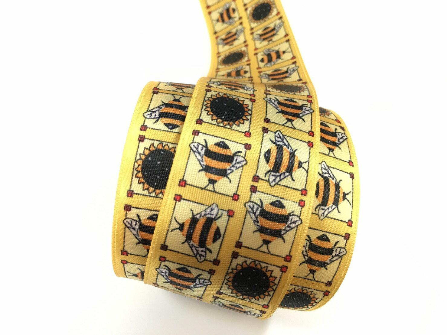 【Crystal Rose緞帶專賣店】蜜蜂向日葵單面緞緞帶 38mm 3碼 - 限時優惠好康折扣