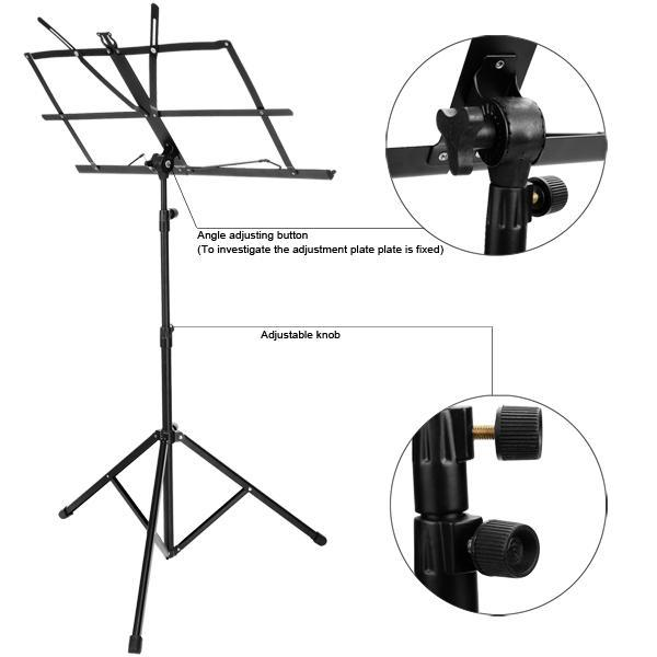 Adjustable Folding Music Stand Metal Sheet Tripod Holder With Carrying Bag 5