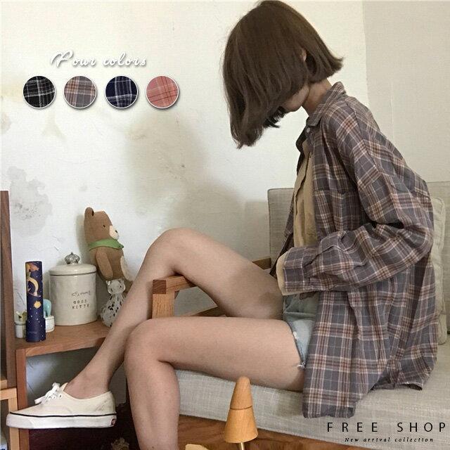 Free Shop 復古文藝氣質寬鬆百搭長袖格紋襯衫超顯瘦男友風小清新格子襯衫可當防曬外套