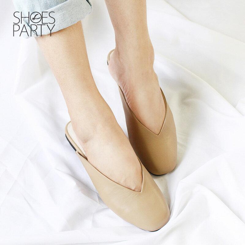 【S2-18529L】小方頭真皮穆勒鞋_Shoes Party 2