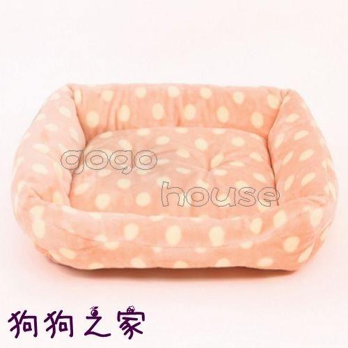 ☆狗狗之家☆Kojima 法蘭絨 水玉 圓點 方形 寵物窩 床