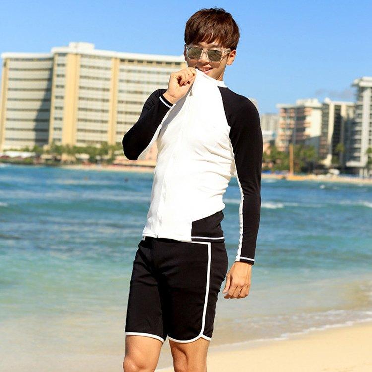 男泳裝 雙色 拼接 運動 防曬 外套 兩件套 男 長袖 泳裝【SFM2125】 BOBI  05/17