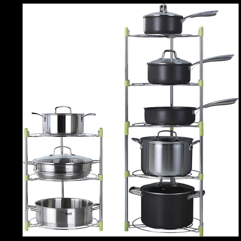【現貨  /  可調高度】廚房用品鍋架 鍋具收納 廚房收納架 鍋子收納 鍋架子多層置物架 【AAA3656】 1
