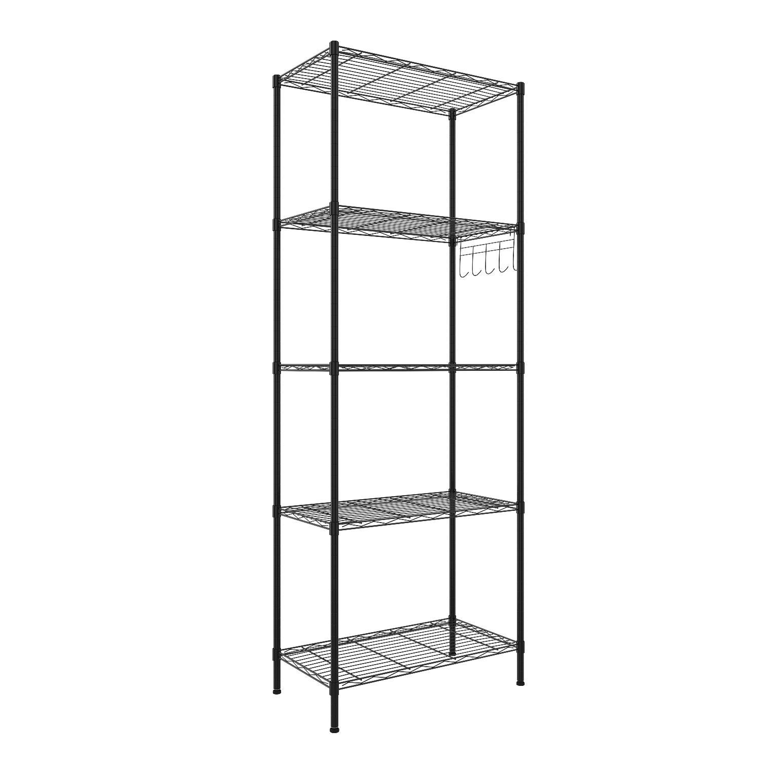 5-Tier Wire Shelving Storage Organizer Rack Adjustable Height with Side Hooks 2