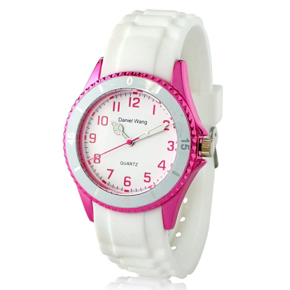 Daniel Wang 3150 炫光雙圈造型矽膠中性小型腕錶-白 1