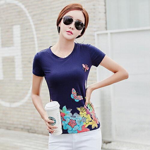 韓版修身印花釘珠大碼T恤(4色M~4XL)*ORead* 2