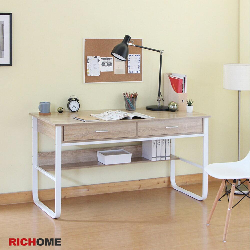 玄關桌 電腦桌  工作桌 辦公桌  書桌【RICHOME】 DE281 《杜克雙抽工作桌》