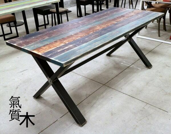 氣質木手感家俱:[氣質木手感家具]居家開店餐桌工業風餐桌鐵件餐桌LOFT風餐桌復古仿舊風原木餐桌客製化量身訂做