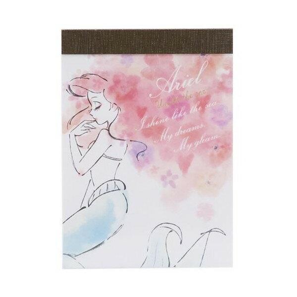 X射線【C880227】迪士尼公主 小美人魚迷你便條本-綻放秀髮,便條紙/信封/信紙/信套紙/卡片紙/收納盒/筆記本/便利貼/備忘錄
