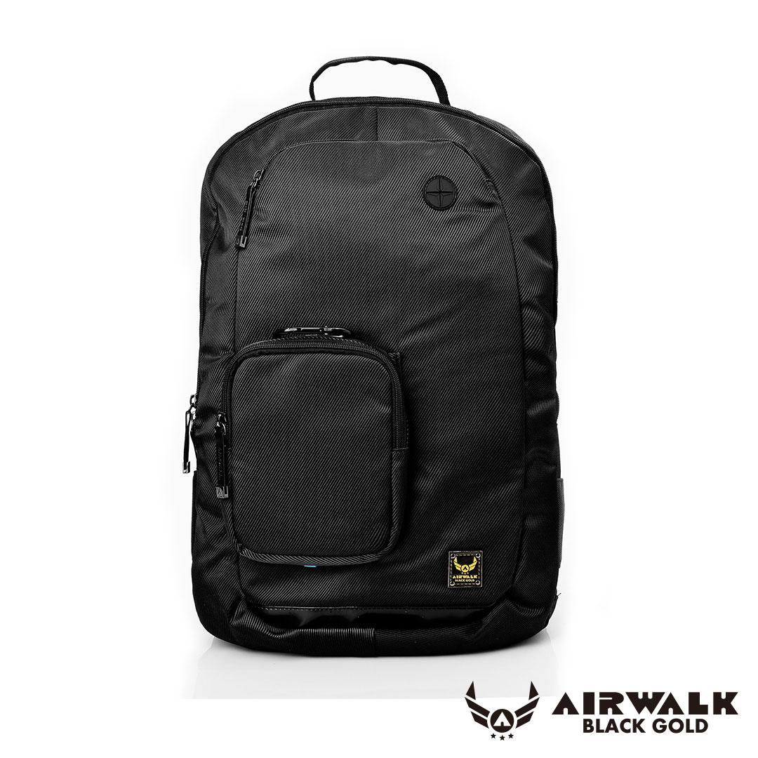 AIRWALK移動裝甲-可拆式母子筆電後背包-黑
