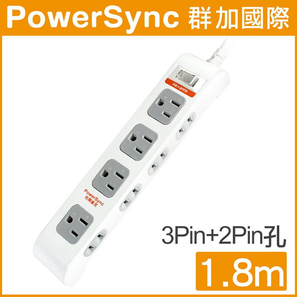 【群加 PowerSync】一開八插省力防雷擊延長線 / 1.8M (PWS-EE1818)