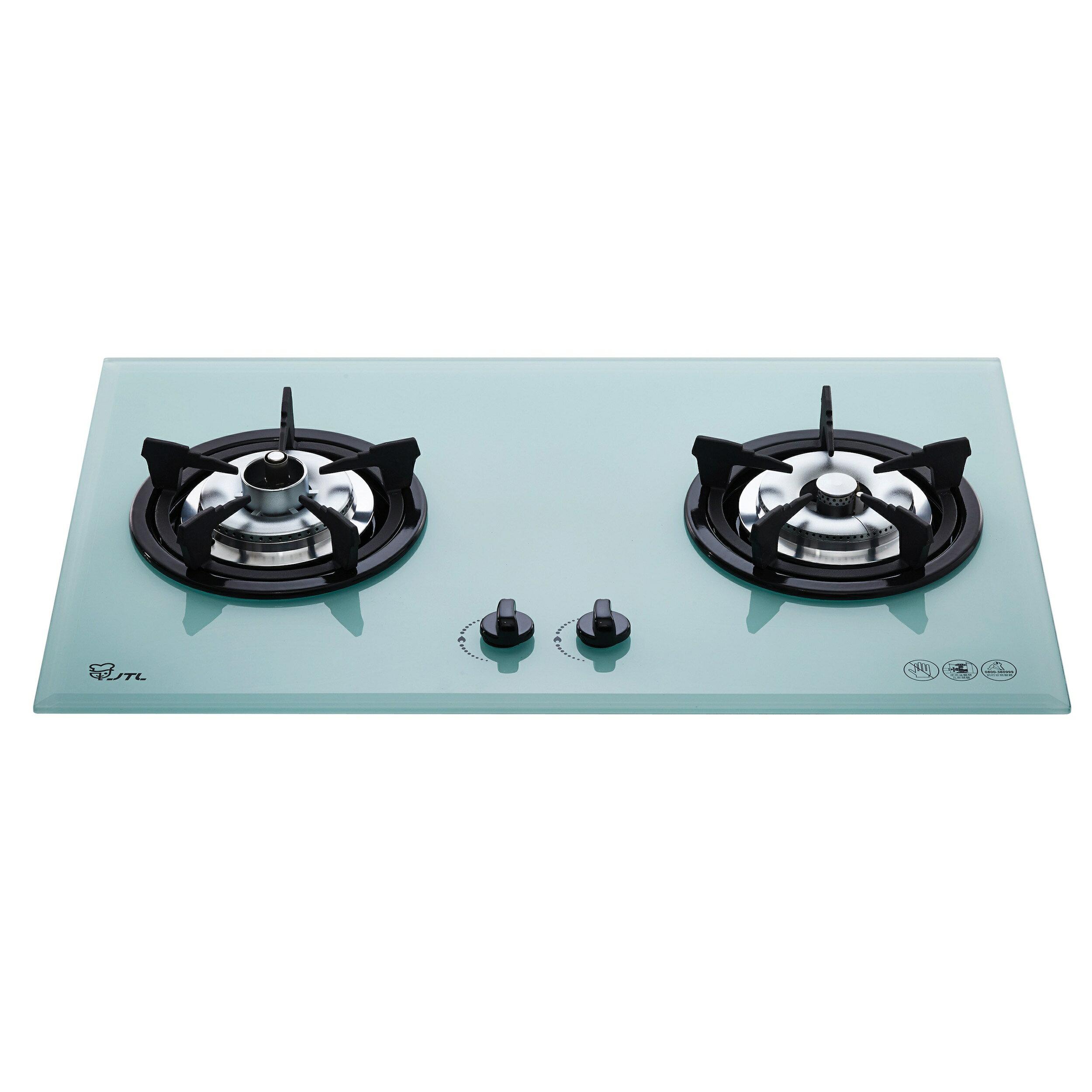喜特麗檯面式防空燒雙口白玻璃瓦斯爐/JT-2201A/天然