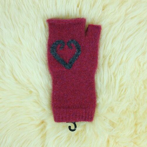 樹莓色紐西蘭貂毛羊毛袖套保暖露指手套愛心蕨葉