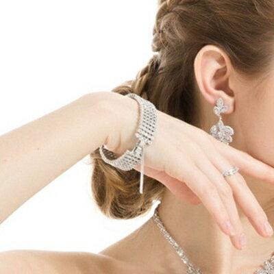 純銀手鍊 鍍白金鑲鑽手環-高貴奢華優雅搶眼生日情人節禮物女飾品73cv56【獨家進口】【米蘭精品】