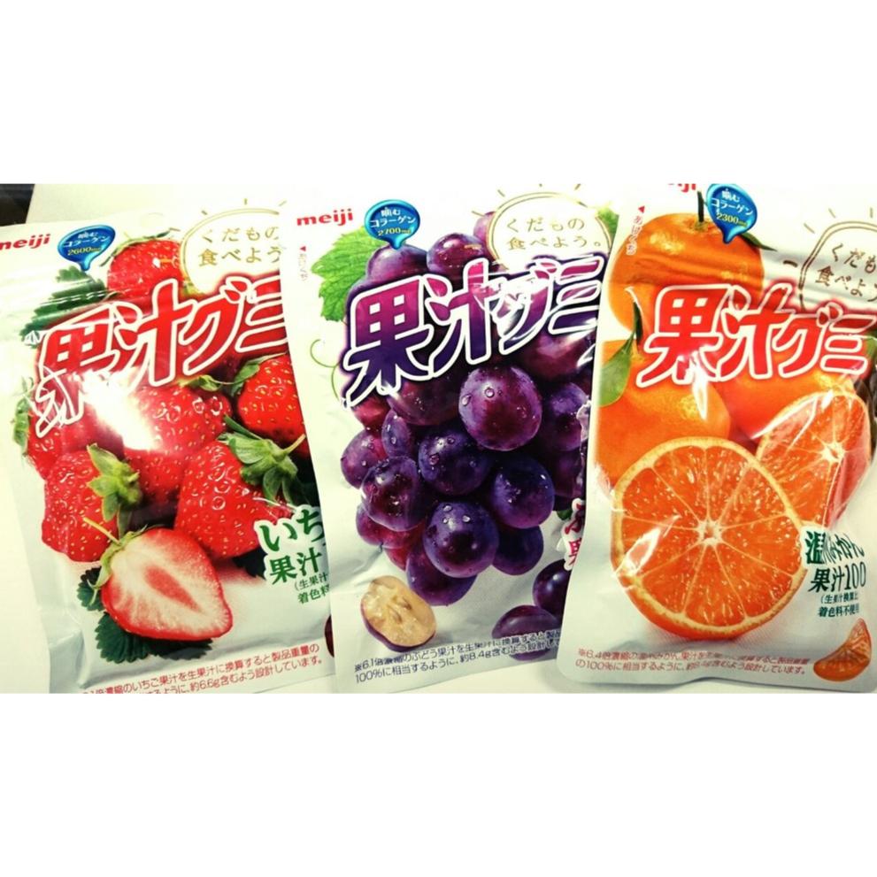 明治meiji 100%果汁QQ軟糖(51g/袋) 水果軟糖 葡萄 水蜜桃 白桃 橘子 草莓