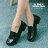 格子舖*【KBCD-017】MIT台灣製 學院風透氣亮皮 3cm粗低跟 學生皮鞋 休閒皮鞋 黑色 0