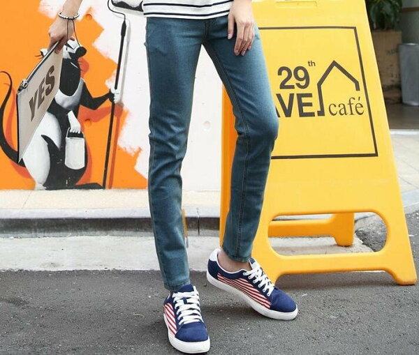 FINDSENSEZ1韓國時尚潮男修身懷舊藍簡約純色小腳褲九分褲休閒長褲學生牛仔褲