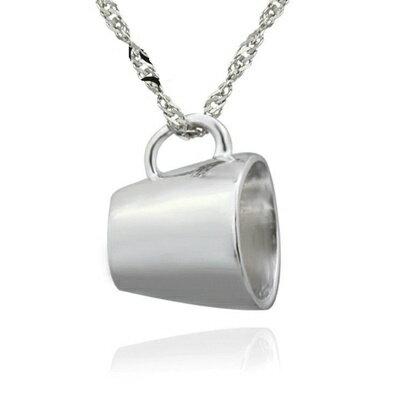 925純銀項鍊 吊墜~ 可愛杯子 母親節情人節生日 女飾品73dk125~ ~~米蘭 ~