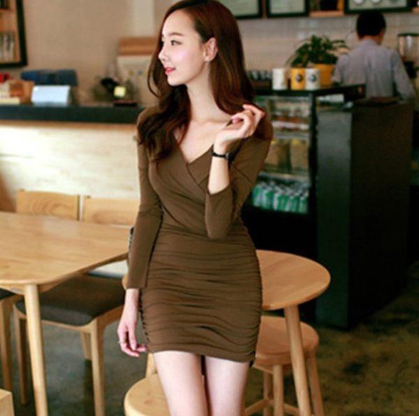 ★《任選2件_一件299》*ORead*顯瘦收腰優雅氣質清新V領連身裙(咖啡色S~L)