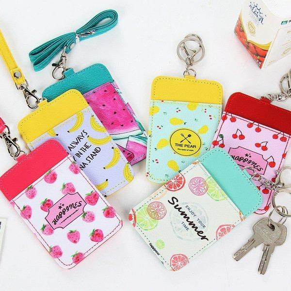 =優 =韓國文具水果皮質卡套工作牌胸牌卡套掛繩 悠遊卡 市民卡套