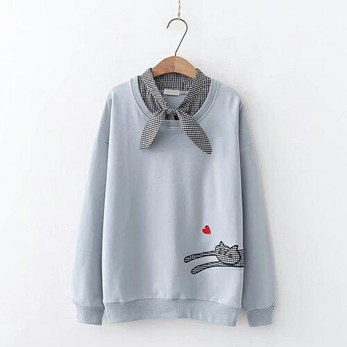 *ORead*小貓刺繡愛心格子系帶領長袖衛衣(4色F碼) 1