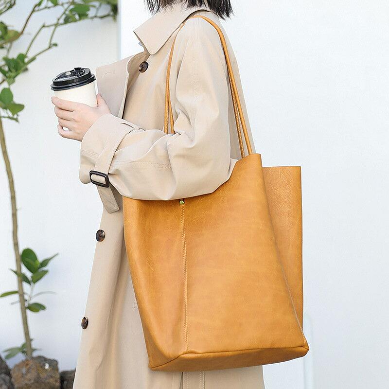 韓版復古大容量托特包網紅時尚PU皮水桶包日系港風子母單肩包女包