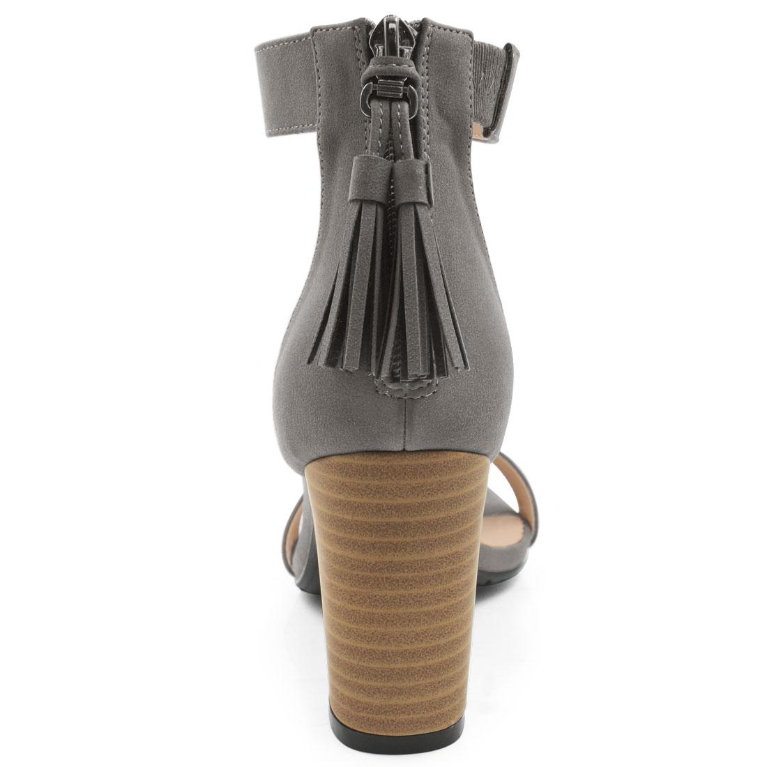50c71208472 Unique Bargains Women s Open Toe Tassel Stacked Heel Ankle Strap Sandals  Dark Gray (Size 9