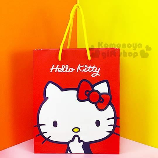 〔小禮堂〕Hello Kitty 直式提袋《紅.側坐.咬手指》送禮包裝最方便