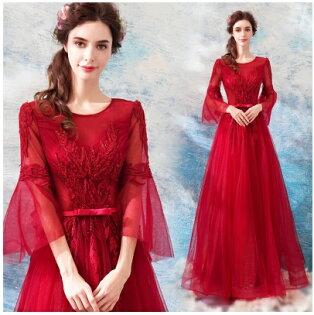 天使嫁衣【AE3611】紅色喇叭袖長質收腰澎感齊地長禮服˙預購訂製款