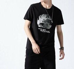 FINDSENSE H1 2018 夏季 新款  歐美 字母圖案印花  舒適透氣 男  純棉T恤 短袖 時尚潮男上衣