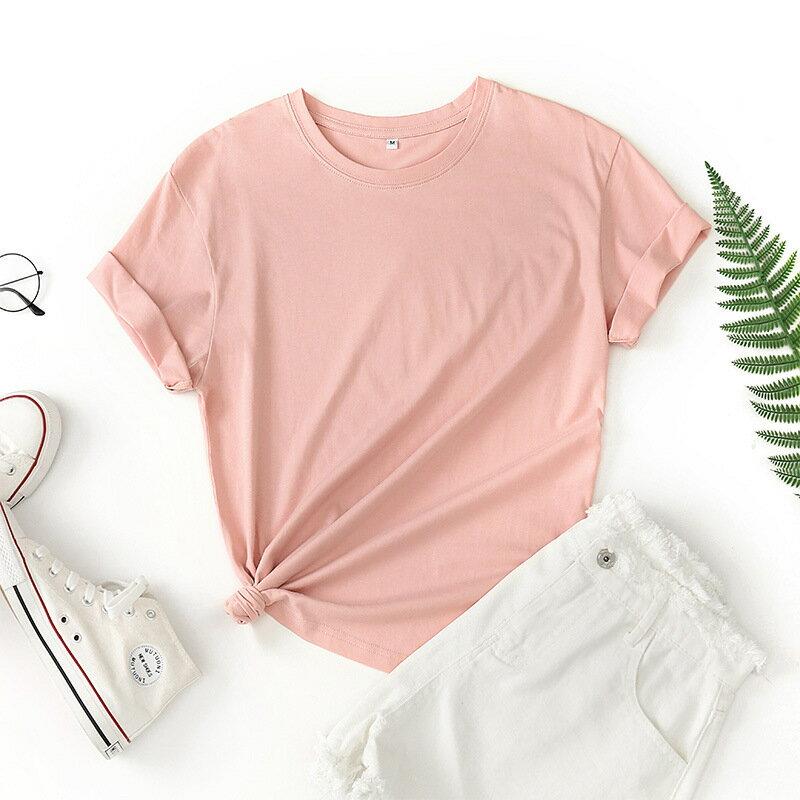 短袖T恤女 2021年夏季新款女士上衣 圓領薄款打底t恤糖果色寬鬆女