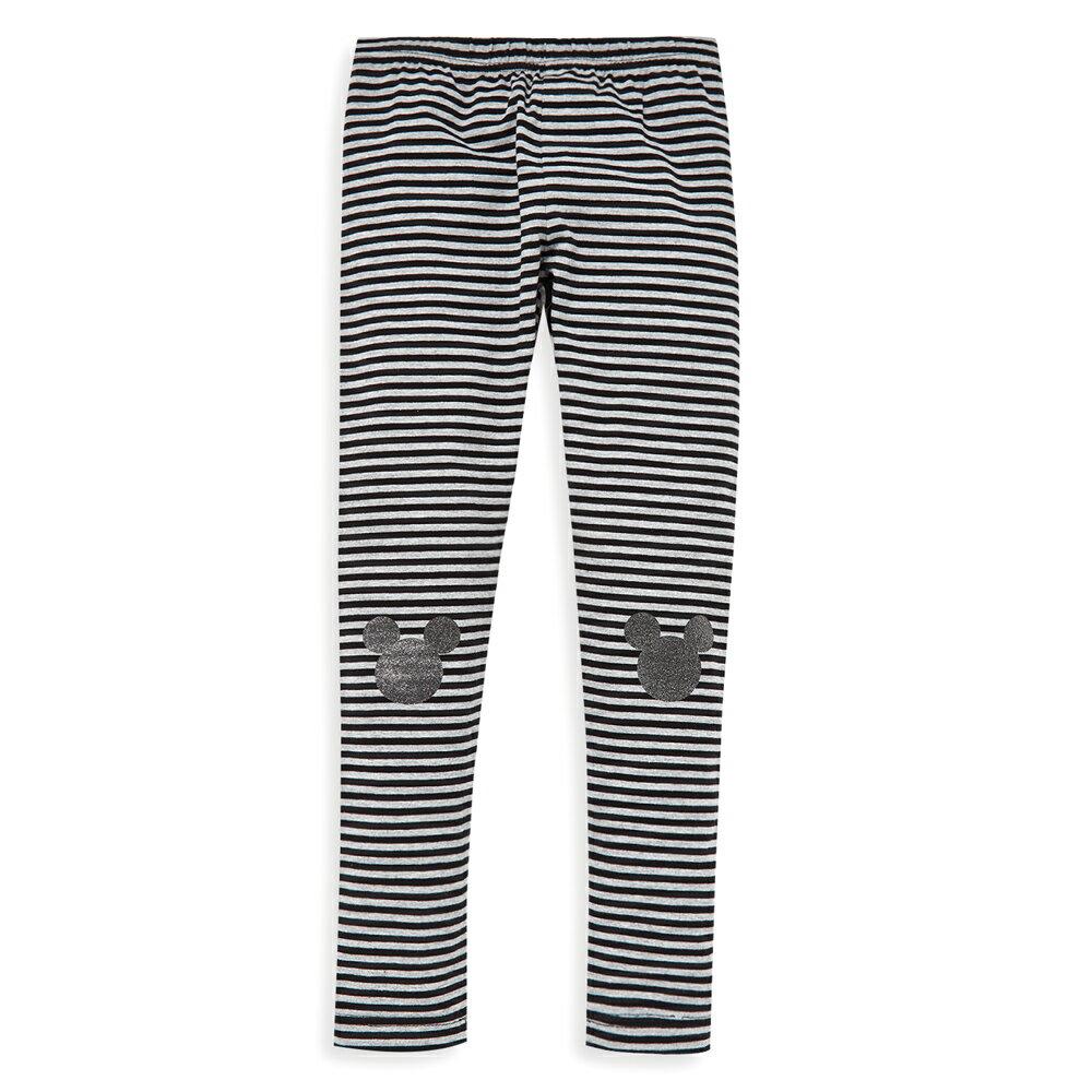 Disney 米奇系列閃亮條紋彈力棉褲-黑色 - 限時優惠好康折扣