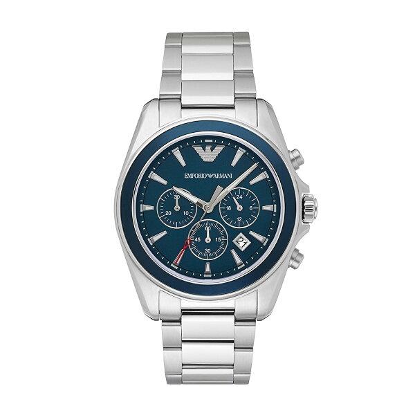 美國百分百【EmporioArmani】配件EA手錶腕錶男錶AR6091不鏽鋼三眼計時海水藍I815