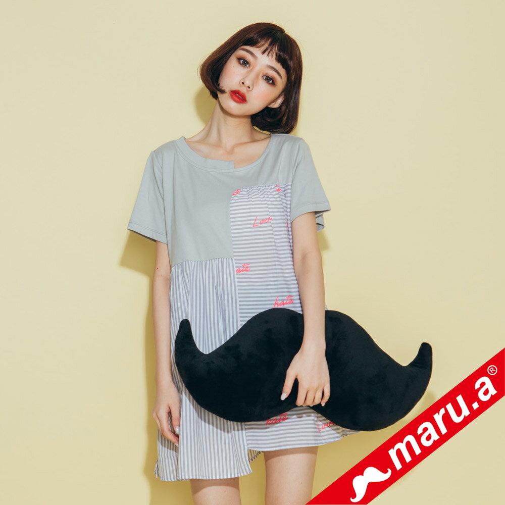 【maru.a】不對稱條紋拼接上衣 8321229 0