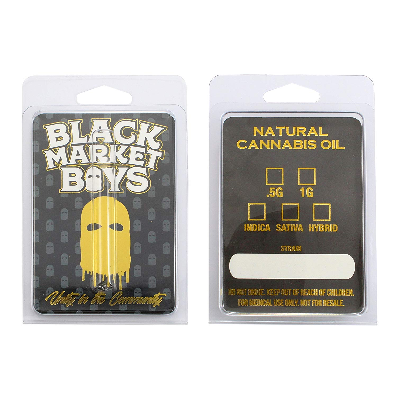 Black Market Boys Empty Oil Distillate Clamshells Child Resistant Packaging Canabis Compliant Shatter Labels CL-006 0