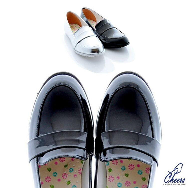 樂福鞋。Cheers*金屬英倫學院風亮皮低跟樂福鞋-兩色 現*預【E1075】