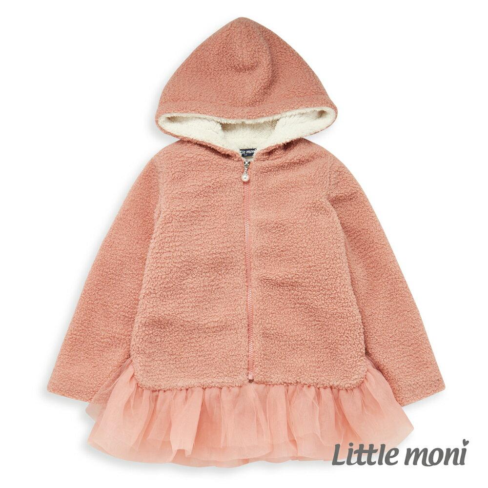 Little moni 連帽毛毛網紗外套-粉紅 0