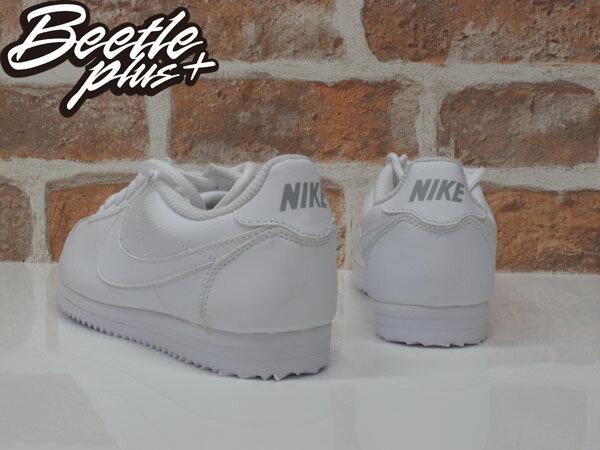 女生 BEETLE NIKE CORTEZ LEATHER 阿甘鞋 慢跑鞋 白勾 全白 復古 749502-100 2