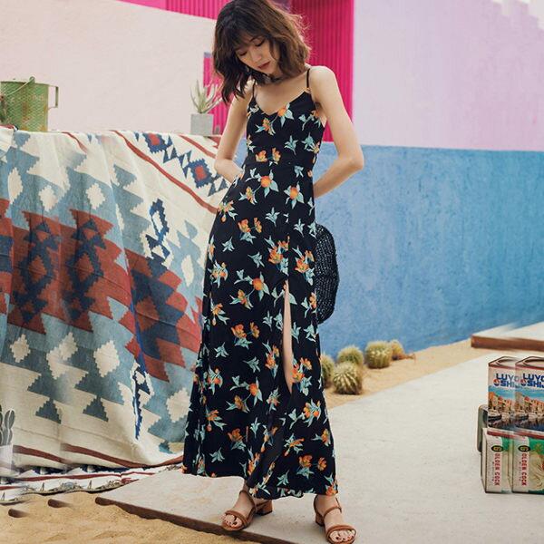 PS Mall 印花海邊沙灘裙 露背裙 連身裙 洋裝【T380】 2