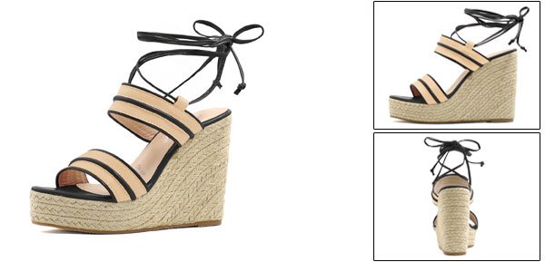 0b8e3d6c8157 24-1  Women Striped Ankle Tie Espadrille Wedge Sandals Apricot Black US 9