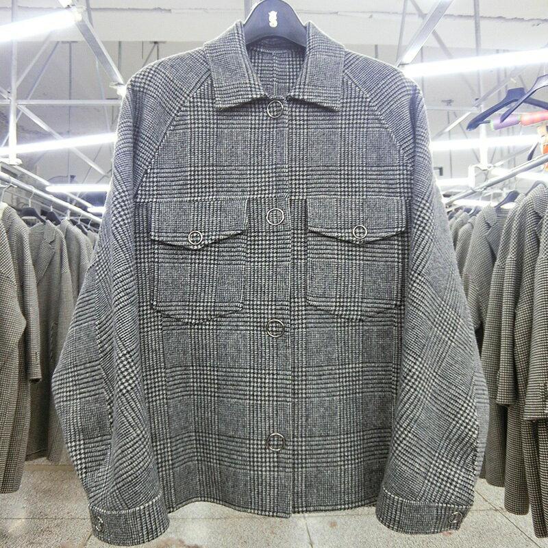 毛呢大衣羊毛外套-短版格紋時尚單排扣女外套73wb14【獨家進口】【米蘭精品】 2