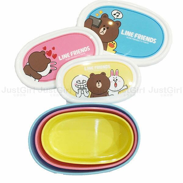 LINE 熊大 兔兔 饅頭人 便當盒 食物保鮮盒 收納盒 3入 餐具 正版日本製造進口 * JustGirl *
